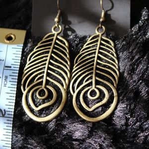 Abstract Feather Brass Earrings